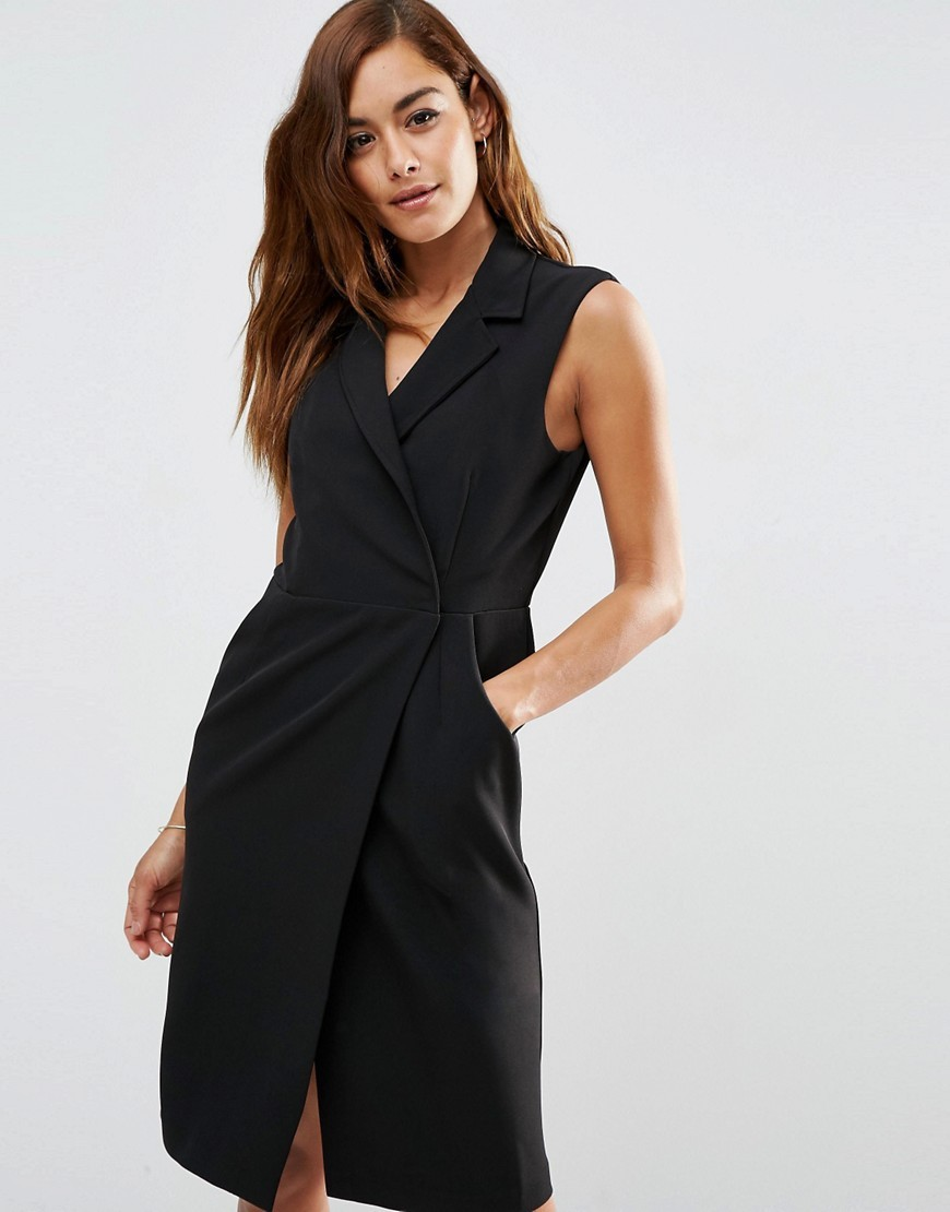 Sleeveless Tux Dress Black - style: shift; neckline: v-neck; fit: tailored/fitted; pattern: plain; sleeve style: sleeveless; predominant colour: black; length: on the knee; fibres: polyester/polyamide - 100%; sleeve length: sleeveless; pattern type: fabric; texture group: other - light to midweight; occasions: creative work; season: s/s 2016