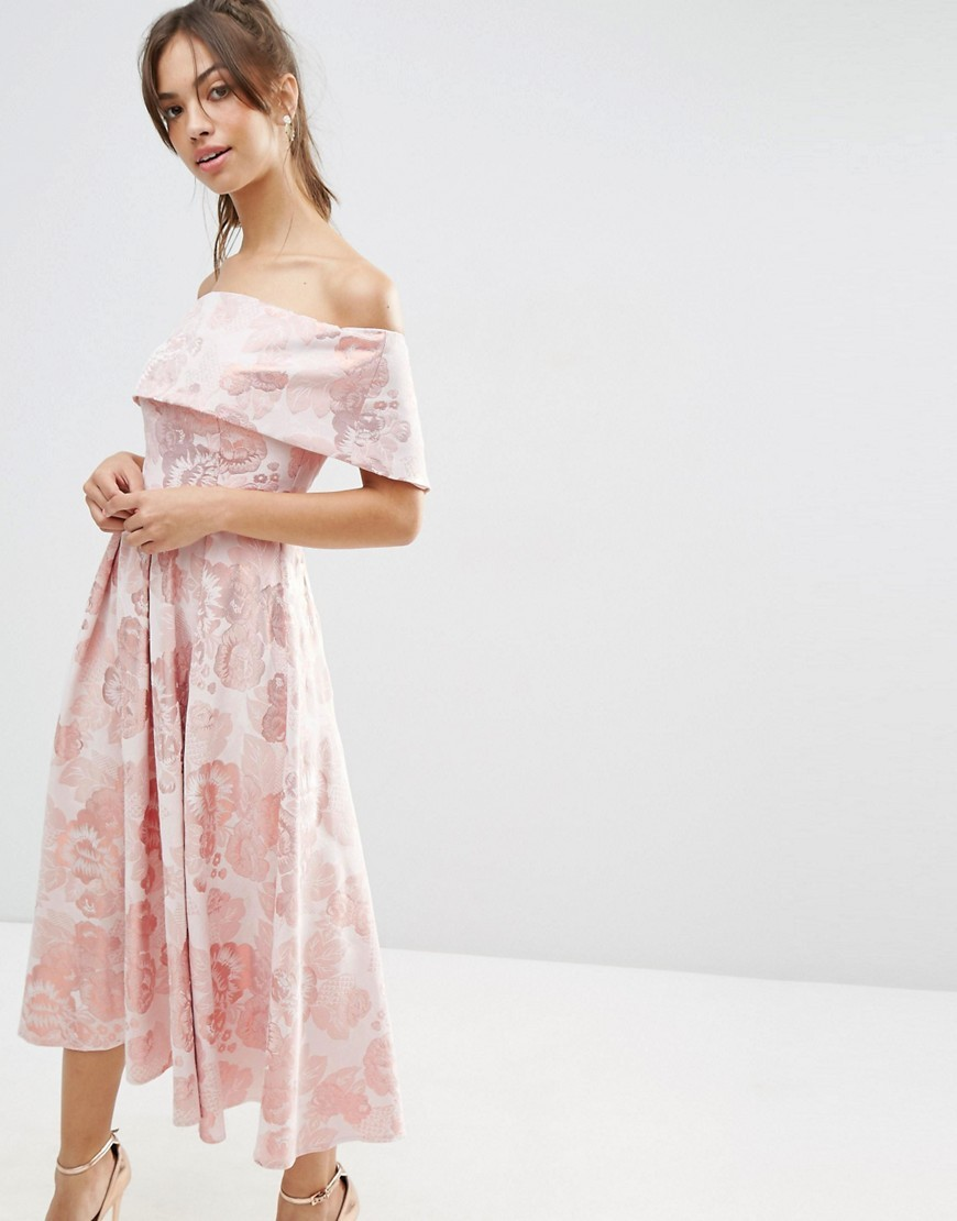 Pink Jacquard Fold Over Midi Prom Dress Multi - length: calf length; neckline: off the shoulder; style: prom dress; waist detail: fitted waist; secondary colour: pink; predominant colour: blush; fit: fitted at waist & bust; fibres: cotton - mix; occasions: occasion; hip detail: soft pleats at hip/draping at hip/flared at hip; sleeve length: short sleeve; sleeve style: standard; pattern type: fabric; pattern size: standard; pattern: florals; texture group: brocade/jacquard; season: s/s 2016; wardrobe: event