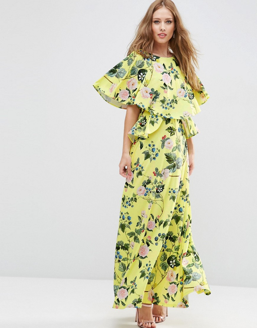 Ruffle Sleeve Berry Print Maxi Dress Multi - neckline: round neck; fit: loose; style: maxi dress; sleeve style: kimono; length: ankle length; predominant colour: yellow; fibres: polyester/polyamide - 100%; occasions: occasion; hip detail: soft pleats at hip/draping at hip/flared at hip; sleeve length: half sleeve; pattern type: fabric; pattern size: big & busy; pattern: florals; texture group: other - light to midweight; season: s/s 2016; wardrobe: event