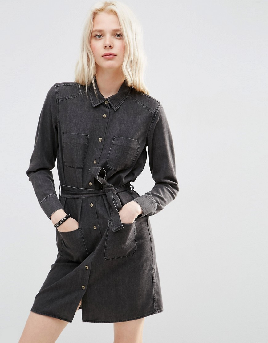 Denim Belted Shirt Dress In Washed Black Washed Black - style: shirt; length: mid thigh; neckline: shirt collar/peter pan/zip with opening; pattern: plain; waist detail: belted waist/tie at waist/drawstring; predominant colour: black; occasions: casual, creative work; fit: body skimming; fibres: cotton - 100%; sleeve length: long sleeve; sleeve style: standard; texture group: denim; pattern type: fabric; season: s/s 2016; wardrobe: basic