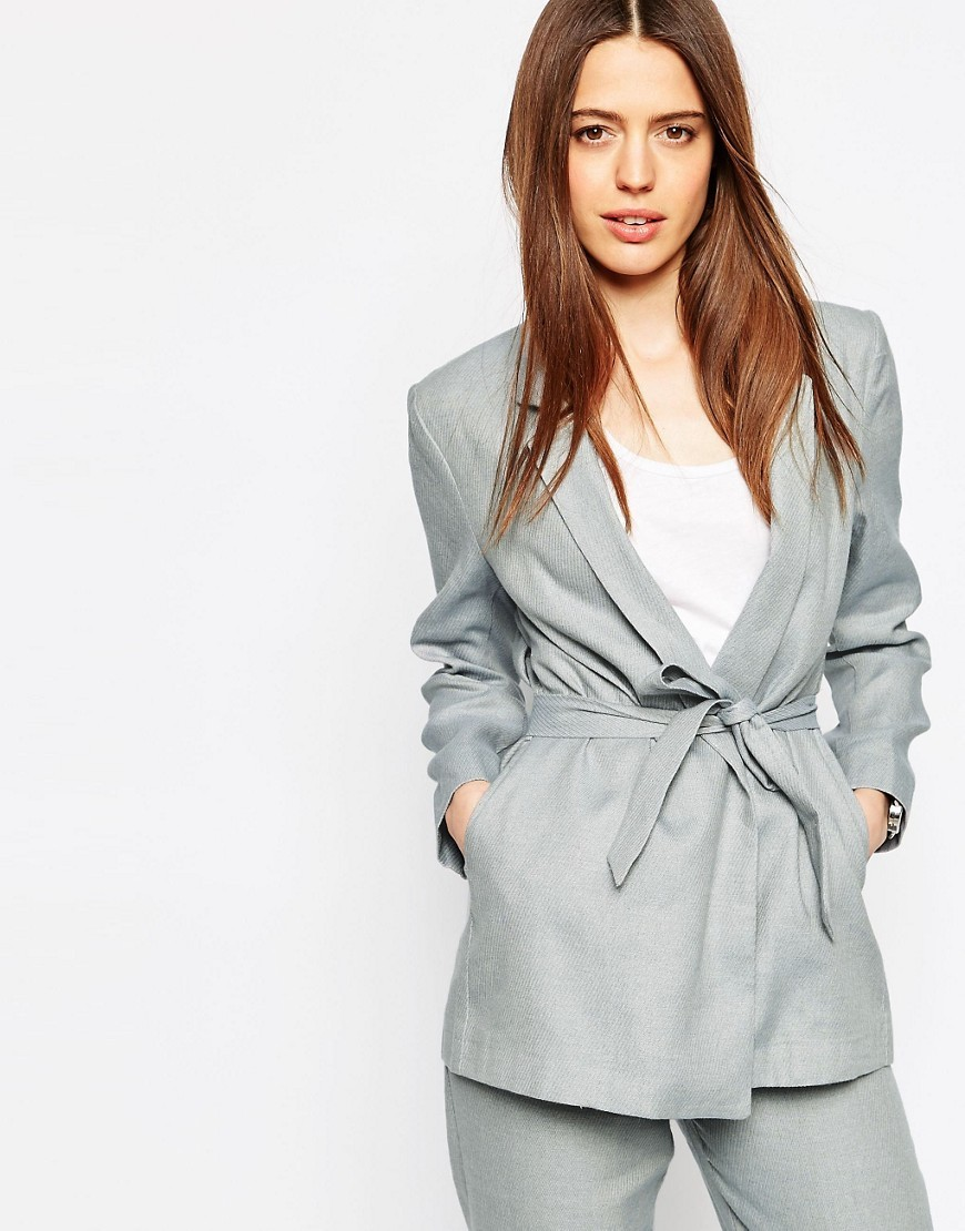 Linen Mix Blazer With Kimono Sleeve Blue - pattern: plain; style: single breasted blazer; collar: standard lapel/rever collar; predominant colour: light grey; occasions: casual, creative work; length: standard; fit: tailored/fitted; fibres: cotton - mix; waist detail: belted waist/tie at waist/drawstring; sleeve length: long sleeve; sleeve style: standard; collar break: medium; pattern type: fabric; texture group: woven light midweight; season: s/s 2016; wardrobe: basic