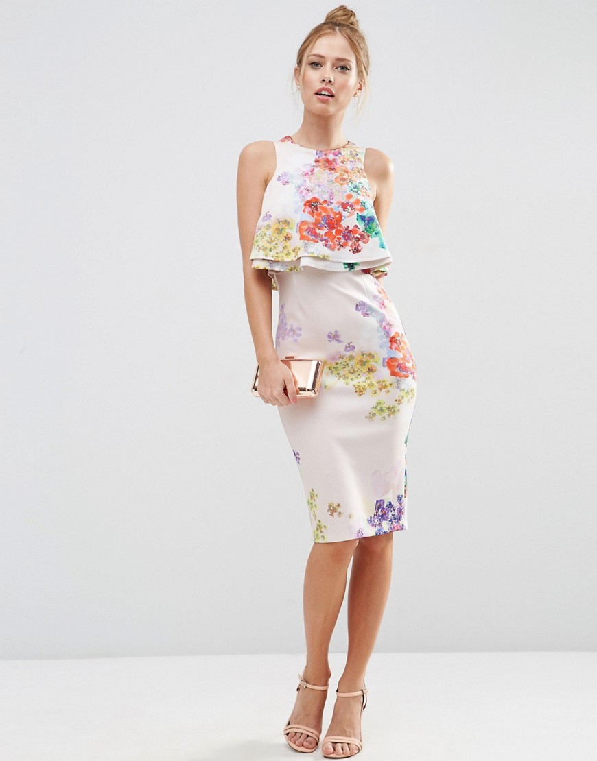 Double Ruffle Floral Crop Top Midi Pencil Dress Print - style: shift; fit: tailored/fitted; sleeve style: sleeveless; hip detail: draws attention to hips; bust detail: subtle bust detail; predominant colour: ivory/cream; secondary colour: coral; occasions: evening, occasion; length: on the knee; fibres: polyester/polyamide - 100%; neckline: crew; sleeve length: sleeveless; pattern type: fabric; pattern: florals; texture group: woven light midweight; multicoloured: multicoloured; season: s/s 2016; wardrobe: event