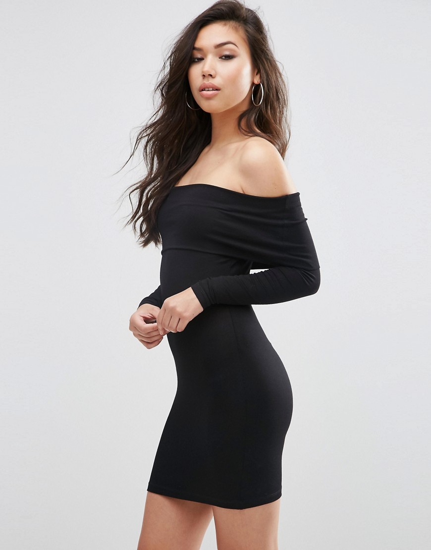 Long Sleeve Deep Bardot Mini Bodycon Black - length: mini; neckline: off the shoulder; fit: tight; pattern: plain; style: bodycon; hip detail: draws attention to hips; predominant colour: black; occasions: evening; fibres: polyester/polyamide - stretch; sleeve length: long sleeve; sleeve style: standard; texture group: jersey - clingy; pattern type: fabric; season: s/s 2016; wardrobe: event