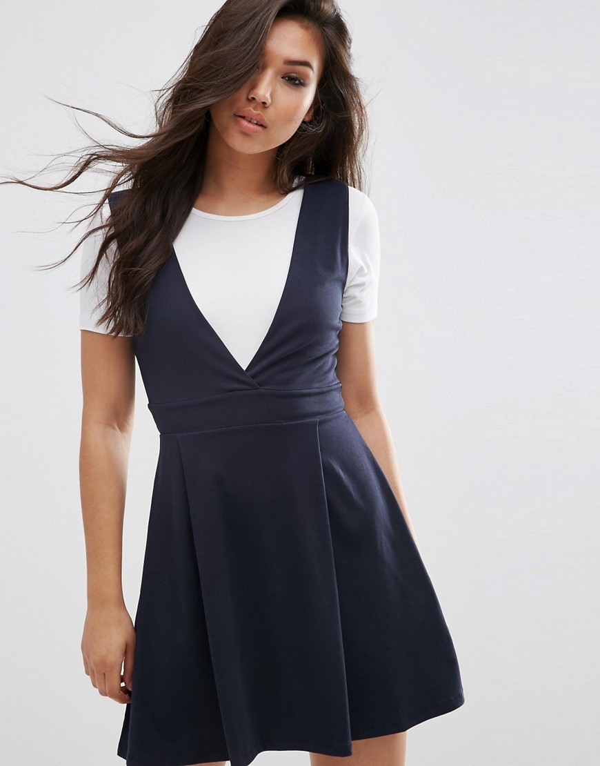 Wide Strap Pinafore Dress Navy - length: mid thigh; neckline: low v-neck; sleeve style: standard vest straps/shoulder straps; pattern: plain; style: dungaree dress/pinafore; predominant colour: navy; occasions: casual, creative work; fit: fitted at waist & bust; fibres: cotton - stretch; sleeve length: sleeveless; pattern type: fabric; texture group: jersey - stretchy/drapey; season: s/s 2016; wardrobe: highlight