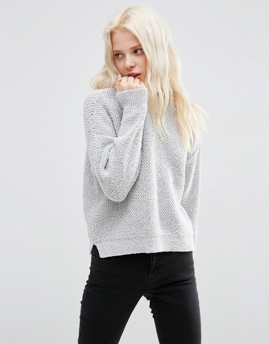 Chunky Jumper In Recycled Eco Yarn Grey - neckline: round neck; pattern: plain; style: standard; predominant colour: light grey; occasions: casual, creative work; length: standard; fibres: wool - 100%; fit: loose; sleeve length: long sleeve; sleeve style: standard; texture group: knits/crochet; pattern type: knitted - fine stitch; season: s/s 2016; wardrobe: basic
