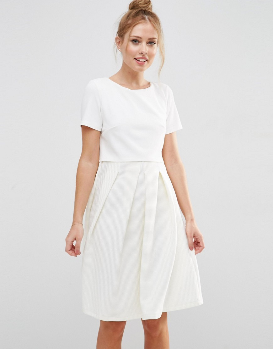 Full Double Layer Midi Dress With Rib Skirt Cream - neckline: round neck; pattern: plain; predominant colour: ivory/cream; length: on the knee; fit: fitted at waist & bust; style: fit & flare; fibres: polyester/polyamide - 100%; occasions: occasion; hip detail: adds bulk at the hips; sleeve length: short sleeve; sleeve style: standard; pattern type: fabric; texture group: other - light to midweight; season: s/s 2016; wardrobe: event
