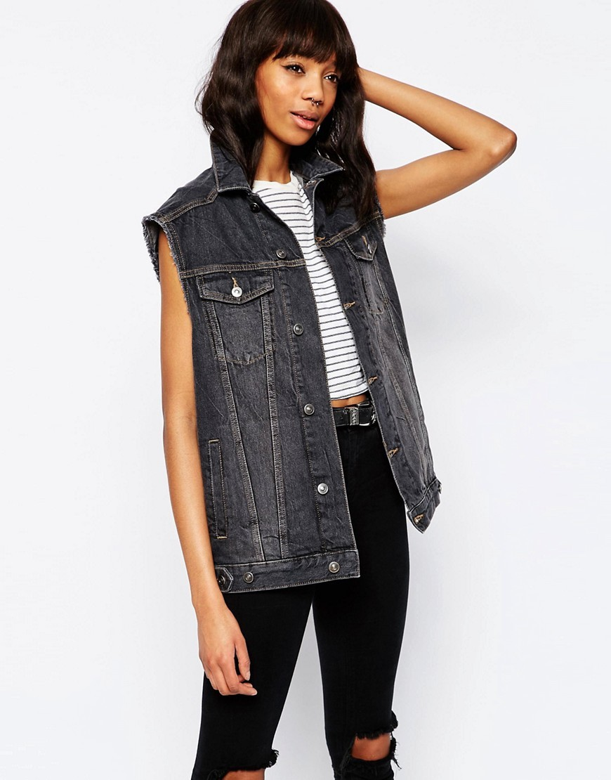 Denim Girlfriend Gilet Jacket In Washed Black Washed Black - pattern: plain; sleeve style: sleeveless; length: below the bottom; style: denim; predominant colour: black; occasions: casual, creative work; fit: straight cut (boxy); fibres: cotton - 100%; collar: shirt collar/peter pan/zip with opening; sleeve length: sleeveless; texture group: denim; collar break: high/illusion of break when open; pattern type: fabric; season: s/s 2016; wardrobe: basic