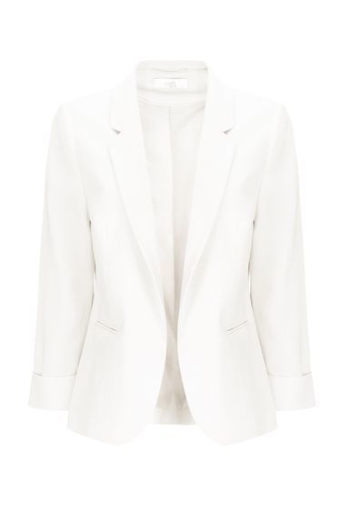 Petite Ivory Short Jacket - pattern: plain; style: single breasted blazer; length: below the bottom; collar: standard lapel/rever collar; predominant colour: white; occasions: casual, creative work; fit: tailored/fitted; fibres: polyester/polyamide - stretch; sleeve length: long sleeve; sleeve style: standard; collar break: low/open; pattern type: fabric; texture group: woven light midweight; season: s/s 2016; wardrobe: basic