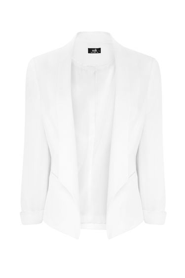 Ivory Lined Jacket - pattern: plain; style: single breasted blazer; collar: standard lapel/rever collar; predominant colour: white; occasions: casual, creative work; length: standard; fit: tailored/fitted; fibres: polyester/polyamide - stretch; sleeve length: long sleeve; sleeve style: standard; collar break: low/open; pattern type: fabric; texture group: woven light midweight; season: s/s 2016; wardrobe: basic