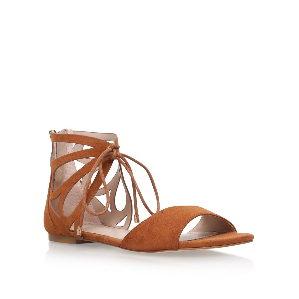 Bali Flat Sandals, Tan - predominant colour: tan; occasions: casual, holiday; material: suede; heel height: flat; ankle detail: ankle tie; heel: block; toe: open toe/peeptoe; style: strappy; finish: plain; pattern: plain; season: s/s 2016