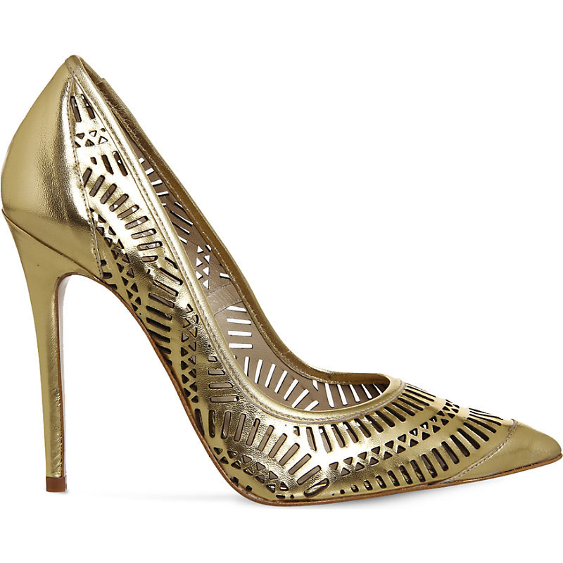 Nancy Laser Cut Leather Courts, Women's, Gold Leather - predominant colour: gold; occasions: evening, occasion; material: leather; heel: stiletto; toe: pointed toe; style: courts; finish: metallic; pattern: plain; heel height: very high; season: s/s 2016; wardrobe: event