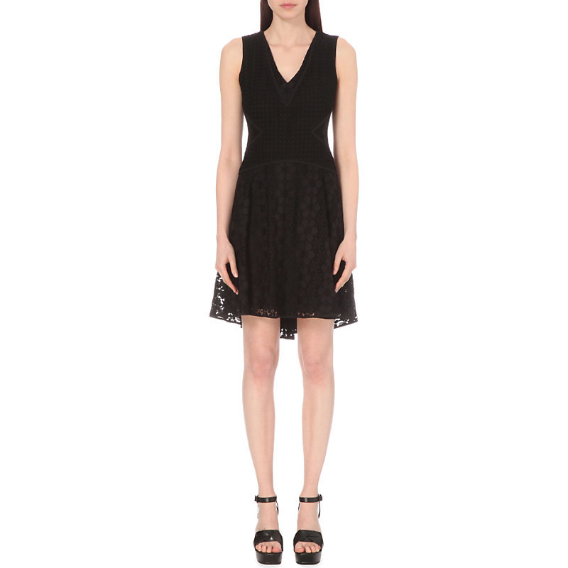 Fiorenza Lace Dress, Women's, Black - length: mid thigh; neckline: low v-neck; sleeve style: sleeveless; predominant colour: black; occasions: evening, occasion; fit: fitted at waist & bust; style: fit & flare; fibres: cotton - mix; hip detail: subtle/flattering hip detail; sleeve length: sleeveless; pattern type: fabric; pattern: patterned/print; texture group: other - light to midweight; season: s/s 2016; wardrobe: event