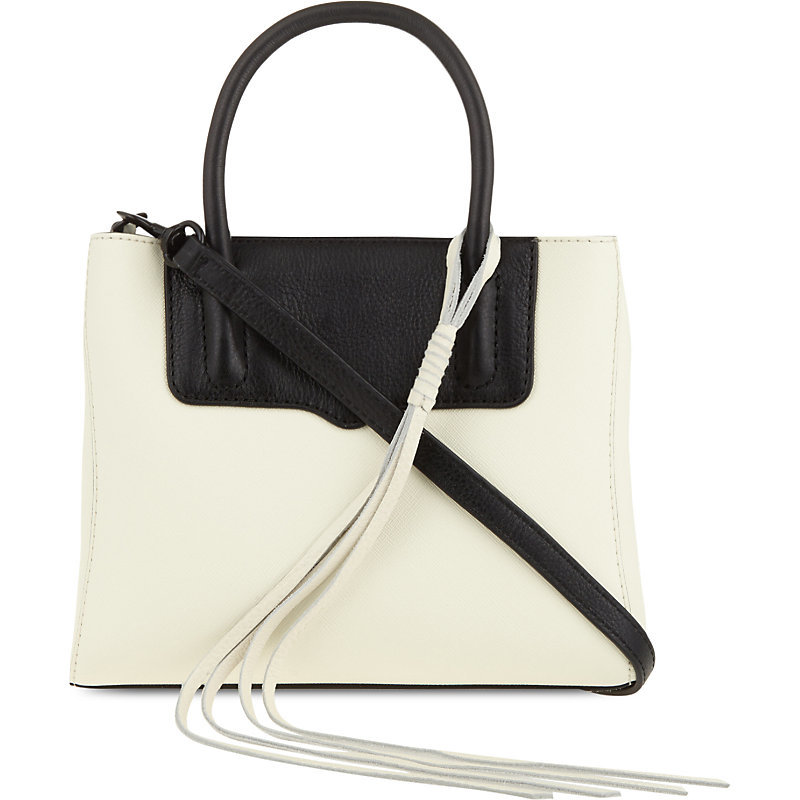 Mini Penelope Leather Tote, Women's, Antique White/Black - predominant colour: ivory/cream; secondary colour: black; occasions: casual, creative work; type of pattern: light; style: tote; length: handle; size: standard; material: leather; pattern: plain; trends: monochrome; finish: plain; season: s/s 2016; wardrobe: investment