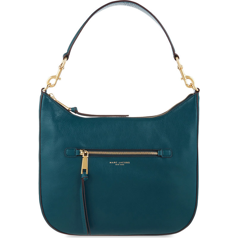 Recruit Leather Hobo Shoulder Bag, Women's, Blue - predominant colour: teal; occasions: casual, creative work; type of pattern: standard; length: shoulder (tucks under arm); size: standard; material: leather; pattern: plain; finish: plain; style: hobo; season: s/s 2016; wardrobe: highlight