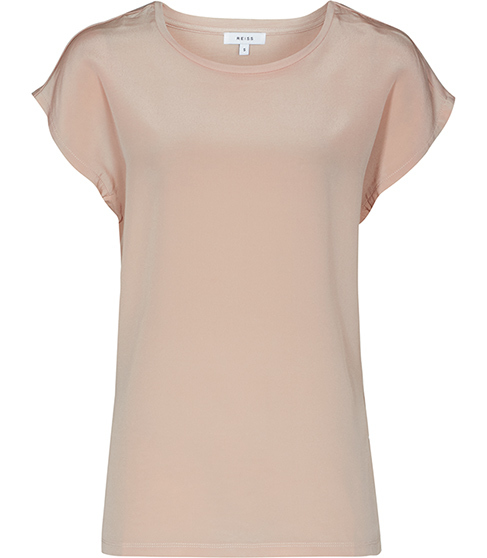 Kiki Silk Front T Shirt - sleeve style: capped; pattern: plain; style: t-shirt; predominant colour: blush; occasions: casual; length: standard; fibres: silk - 100%; fit: straight cut; neckline: crew; sleeve length: short sleeve; texture group: silky - light; pattern type: fabric; season: s/s 2016; wardrobe: basic