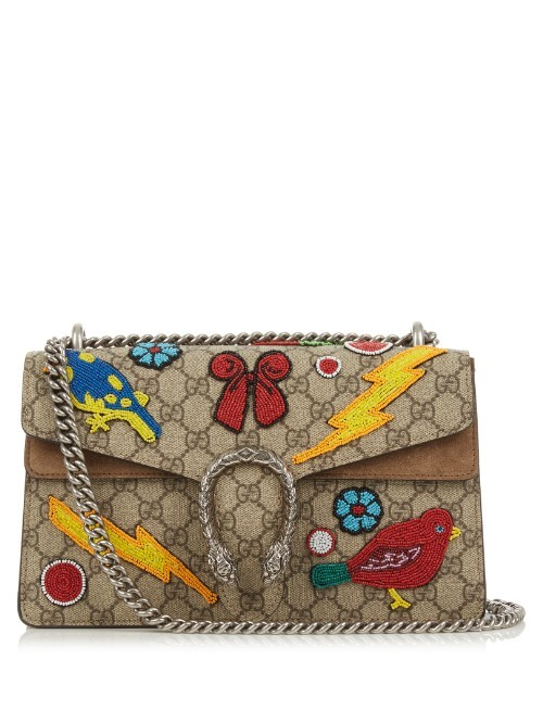 Dionysus Gg Supreme Embellished Shoulder Bag - secondary colour: true red; predominant colour: taupe; occasions: casual, creative work; type of pattern: standard; style: shoulder; length: shoulder (tucks under arm); size: small; material: fabric; embellishment: applique; finish: plain; pattern: patterned/print; multicoloured: multicoloured; season: s/s 2016; wardrobe: highlight
