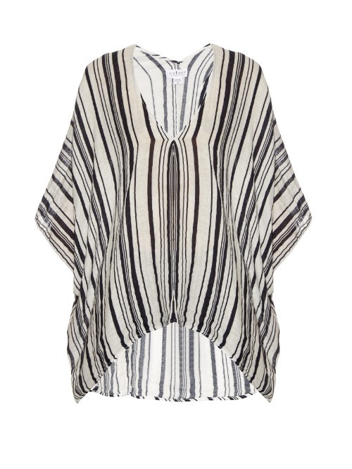 Amidala Striped Cotton Top - neckline: v-neck; sleeve style: dolman/batwing; pattern: striped; length: below the bottom; style: tunic; secondary colour: ivory/cream; predominant colour: black; occasions: casual; fibres: cotton - 100%; fit: loose; sleeve length: 3/4 length; texture group: cotton feel fabrics; pattern type: fabric; pattern size: standard; season: s/s 2016; wardrobe: highlight