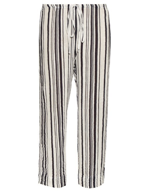 Omarina Striped Cotton Trousers - length: standard; pattern: vertical stripes; waist detail: belted waist/tie at waist/drawstring; waist: mid/regular rise; secondary colour: white; predominant colour: black; occasions: casual; fibres: cotton - 100%; trends: monochrome; texture group: cotton feel fabrics; fit: wide leg; pattern type: fabric; style: standard; pattern size: standard (bottom); season: s/s 2016
