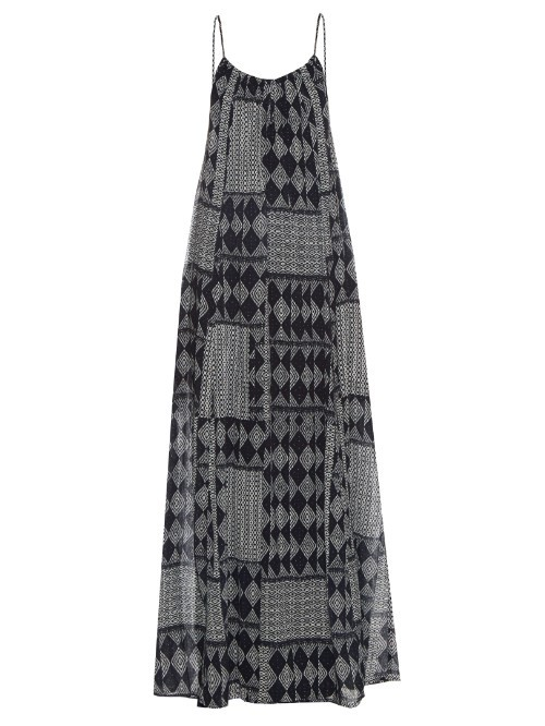 Mali Geometric Print Maxi Dress - sleeve style: spaghetti straps; style: maxi dress; secondary colour: mid grey; predominant colour: black; occasions: casual; length: floor length; fit: soft a-line; neckline: scoop; fibres: cotton - 100%; sleeve length: sleeveless; texture group: cotton feel fabrics; pattern type: fabric; pattern: patterned/print; season: s/s 2016; wardrobe: highlight