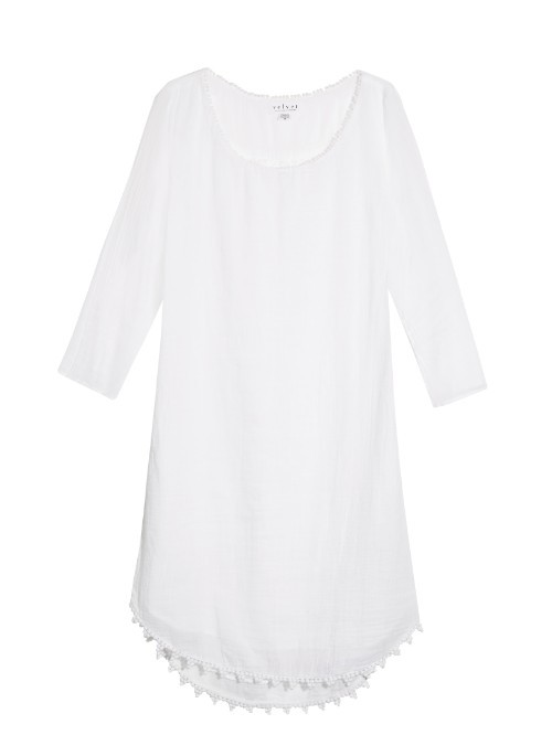 Bluebell Cotton Dress - style: shift; pattern: plain; predominant colour: white; occasions: casual; length: just above the knee; fit: soft a-line; neckline: scoop; fibres: cotton - 100%; sleeve length: 3/4 length; sleeve style: standard; texture group: cotton feel fabrics; pattern type: fabric; pattern size: standard; season: s/s 2016