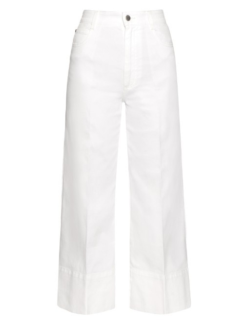 High Rise Wide Leg Cropped Jeans - length: standard; pattern: plain; waist: high rise; style: wide leg; predominant colour: white; occasions: casual, creative work; fibres: cotton - stretch; texture group: denim; pattern type: fabric; season: s/s 2016; wardrobe: highlight