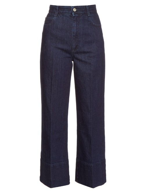 High Rise Wide Leg Cropped Jeans - pattern: plain; waist: high rise; style: wide leg; predominant colour: navy; occasions: casual, creative work; length: ankle length; fibres: cotton - stretch; jeans detail: dark wash; texture group: denim; pattern type: fabric; season: s/s 2016; wardrobe: basic