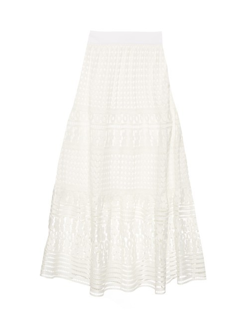 Tiana Skirt - length: calf length; pattern: plain; fit: loose/voluminous; waist: high rise; predominant colour: ivory/cream; style: a-line; fibres: polyester/polyamide - 100%; occasions: occasion; hip detail: soft pleats at hip/draping at hip/flared at hip; pattern type: fabric; texture group: other - light to midweight; pattern size: light/subtle (bottom); season: s/s 2016; wardrobe: event