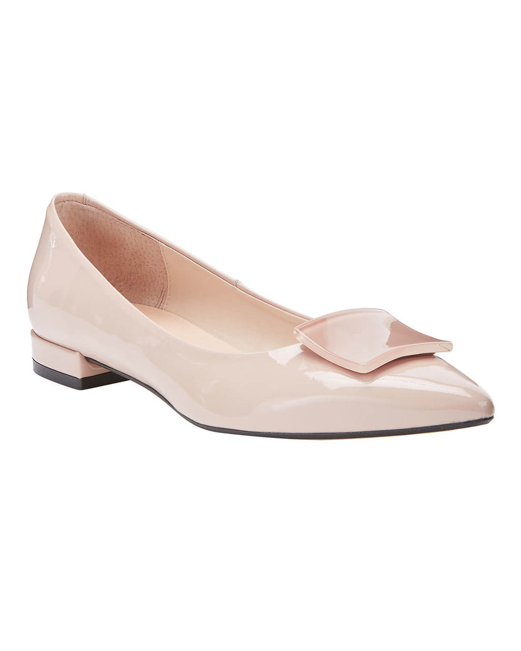 Ruby Leather Pump - predominant colour: nude; occasions: casual, work, creative work; material: leather; heel height: flat; toe: pointed toe; style: ballerinas / pumps; finish: patent; pattern: plain; season: s/s 2016