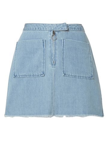 Womens **Vero Moda Denim Skirt Blue - length: mini; pattern: plain; fit: loose/voluminous; waist: high rise; predominant colour: pale blue; occasions: casual; style: a-line; fibres: cotton - 100%; hip detail: subtle/flattering hip detail; texture group: denim; pattern type: fabric; season: s/s 2016; wardrobe: basic