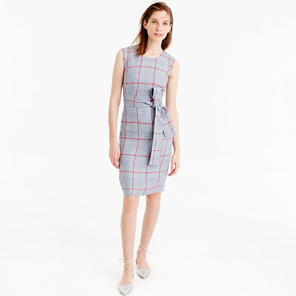 Sleeveless Dress In Italian Linen - style: shift; fit: tailored/fitted; sleeve style: sleeveless; pattern: checked/gingham; waist detail: belted waist/tie at waist/drawstring; secondary colour: true red; predominant colour: light grey; occasions: evening; length: just above the knee; fibres: linen - 100%; neckline: crew; sleeve length: sleeveless; pattern type: fabric; texture group: other - light to midweight; season: s/s 2016; wardrobe: event