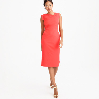 Promotion Dress - style: shift; fit: tailored/fitted; pattern: plain; sleeve style: sleeveless; neckline: asymmetric; predominant colour: coral; length: on the knee; fibres: cotton - stretch; occasions: occasion; sleeve length: sleeveless; pattern type: fabric; texture group: other - light to midweight; season: s/s 2016; wardrobe: event