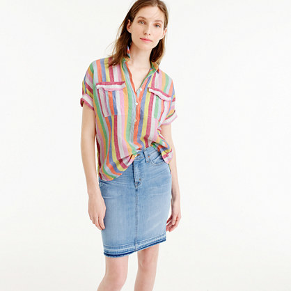 Petite Short Sleeve Popover Shirt In Candy Stripe - neckline: shirt collar/peter pan/zip with opening; pattern: striped; length: below the bottom; style: shirt; predominant colour: hot pink; secondary colour: emerald green; occasions: casual, creative work; fibres: cotton - mix; fit: loose; sleeve length: short sleeve; sleeve style: standard; bust detail: bulky details at bust; pattern type: fabric; pattern size: standard; texture group: woven light midweight; multicoloured: multicoloured; season: s/s 2016; wardrobe: highlight