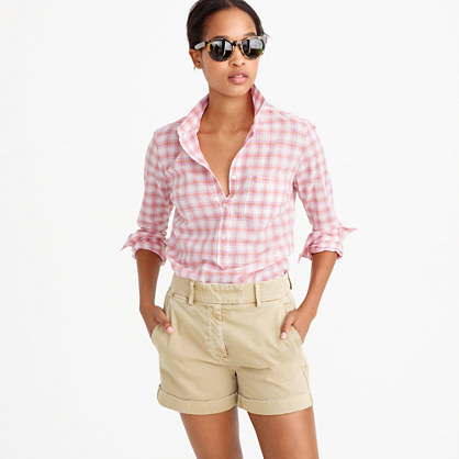 Petite Popover Shirt In Melon Plaid - neckline: shirt collar/peter pan/zip with opening; pattern: checked/gingham; style: shirt; secondary colour: white; predominant colour: pink; occasions: casual, creative work; length: standard; fibres: cotton - stretch; fit: loose; sleeve length: long sleeve; sleeve style: standard; pattern type: fabric; pattern size: standard; texture group: woven light midweight; season: s/s 2016; wardrobe: highlight