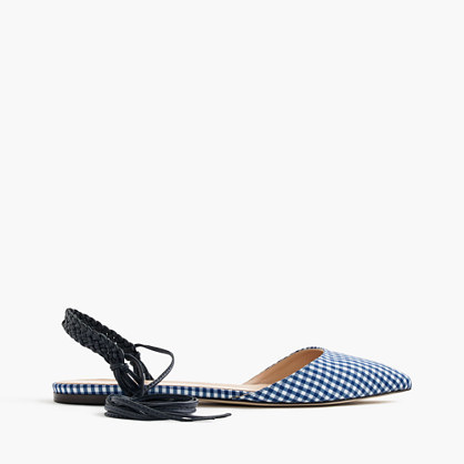 Slingback Flats In Gingham - predominant colour: royal blue; secondary colour: pale blue; occasions: casual, creative work; material: fabric; heel height: flat; ankle detail: ankle strap; toe: pointed toe; style: ballerinas / pumps; finish: plain; pattern: checked/gingham; season: s/s 2016; wardrobe: highlight