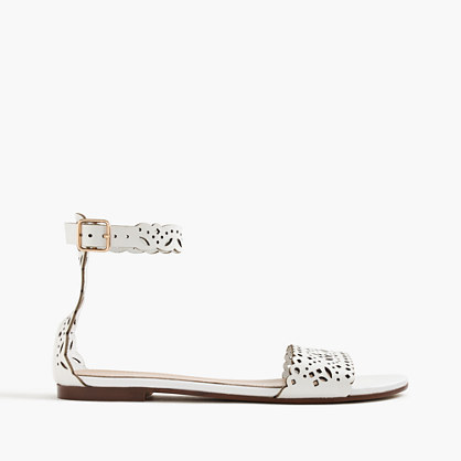 Leather Eyelet Sandals With Ankle Strap - predominant colour: white; occasions: casual; material: leather; heel height: flat; ankle detail: ankle strap; heel: standard; toe: open toe/peeptoe; style: standard; finish: plain; pattern: plain; season: s/s 2016