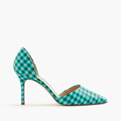 Elsie Gingham D'orsay Leather Pumps - secondary colour: emerald green; predominant colour: mint green; occasions: evening; material: fabric; heel height: high; heel: stiletto; toe: pointed toe; style: courts; finish: plain; pattern: checked/gingham; season: s/s 2016; wardrobe: event