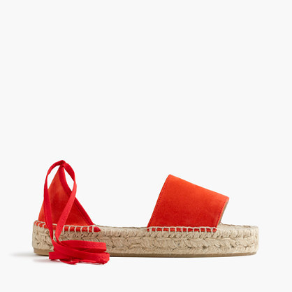 Suede Flatform Espadrilles - predominant colour: true red; occasions: casual, holiday; material: leather; heel height: flat; ankle detail: ankle tie; heel: standard; toe: open toe/peeptoe; style: strappy; finish: plain; pattern: plain; shoe detail: platform; season: s/s 2016; wardrobe: highlight