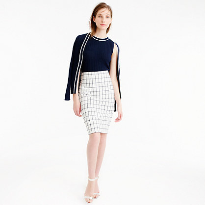 Pencil Skirt In Windowpane Tweed - pattern: checked/gingham; style: pencil; fit: tailored/fitted; waist: mid/regular rise; predominant colour: white; secondary colour: black; occasions: evening, work, creative work; length: on the knee; fibres: cotton - mix; pattern type: fabric; texture group: woven light midweight; season: s/s 2016; wardrobe: highlight