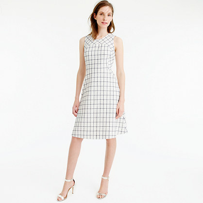 Tall Sleeveless A Line Dress In Windowpane Tweed - style: shift; length: below the knee; sleeve style: sleeveless; pattern: checked/gingham; predominant colour: ivory/cream; secondary colour: charcoal; occasions: evening; fit: soft a-line; fibres: cotton - mix; neckline: crew; sleeve length: sleeveless; pattern type: fabric; texture group: woven light midweight; season: s/s 2016; wardrobe: event