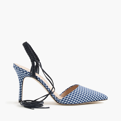 Elsie Slingback Gingham Pumps - predominant colour: royal blue; secondary colour: pale blue; occasions: evening; material: fabric; heel height: high; ankle detail: ankle tie; heel: stiletto; toe: pointed toe; style: slingbacks; finish: plain; pattern: checked/gingham; season: s/s 2016; wardrobe: event