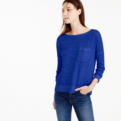 Yarn Dyed Linen Pocket Crewneck Sweater - neckline: scoop neck; pattern: plain; bust detail: pocket detail at bust; style: standard; predominant colour: royal blue; occasions: casual, work, creative work; length: standard; fibres: linen - 100%; fit: standard fit; sleeve length: 3/4 length; sleeve style: standard; texture group: linen; pattern type: knitted - fine stitch; season: s/s 2016
