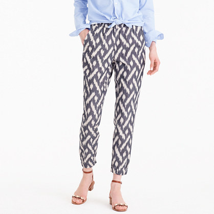 Petite Seaside Pant In Ikat - length: standard; waist: mid/regular rise; predominant colour: black; occasions: casual, creative work; fibres: cotton - 100%; fit: slim leg; pattern type: fabric; pattern: patterned/print; texture group: other - light to midweight; style: standard; pattern size: big & busy (bottom); multicoloured: multicoloured; season: s/s 2016; wardrobe: highlight