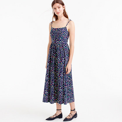 Sundress In Ratti® Happy Cat Print - length: calf length; sleeve style: spaghetti straps; style: sundress; waist detail: fitted waist; secondary colour: hot pink; predominant colour: navy; occasions: casual, holiday; fit: fitted at waist & bust; fibres: cotton - 100%; hip detail: subtle/flattering hip detail; sleeve length: sleeveless; texture group: cotton feel fabrics; neckline: low square neck; pattern type: fabric; pattern size: standard; pattern: patterned/print; multicoloured: multicoloured; season: s/s 2016; wardrobe: highlight