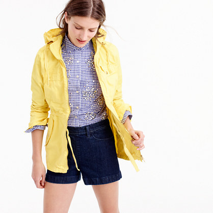 Cotton Anorak Jacket - pattern: plain; length: below the bottom; fit: loose; style: parka; collar: high neck; predominant colour: yellow; occasions: casual; fibres: cotton - 100%; sleeve length: long sleeve; sleeve style: standard; texture group: cotton feel fabrics; collar break: high; pattern type: fabric; season: s/s 2016; wardrobe: highlight