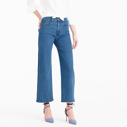 Rayner Jean In Welby Wash - pattern: plain; waist: mid/regular rise; style: wide leg; predominant colour: denim; occasions: casual, creative work; length: ankle length; fibres: cotton - stretch; texture group: denim; pattern type: fabric; season: s/s 2016; wardrobe: basic
