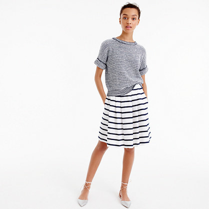 Mini Skirt In Nautical Stripe - fit: loose/voluminous; style: pleated; waist: high rise; predominant colour: white; secondary colour: navy; occasions: casual, creative work; length: on the knee; fibres: cotton - 100%; pattern type: fabric; texture group: other - light to midweight; pattern size: light/subtle (bottom); pattern: horizontal stripes (bottom); season: s/s 2016; trends: graphic stripes; wardrobe: highlight