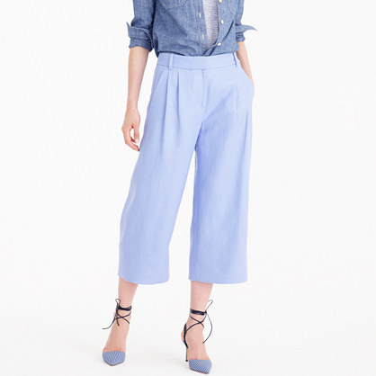 Cropped Wide Leg Pant In Heavy Linen - pattern: plain; waist: high rise; predominant colour: pale blue; occasions: casual, creative work; length: calf length; fibres: linen - 100%; texture group: linen; fit: wide leg; pattern type: fabric; style: standard; season: s/s 2016; wardrobe: highlight