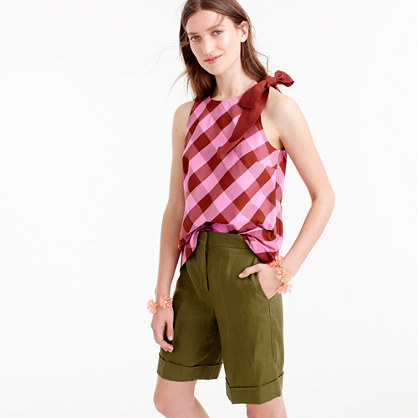 Bow Shoulder Top In Oversized Gingham - neckline: round neck; sleeve style: sleeveless; pattern: checked/gingham; predominant colour: hot pink; secondary colour: true red; occasions: casual, creative work; length: standard; style: top; fibres: cotton - mix; fit: body skimming; sleeve length: sleeveless; texture group: cotton feel fabrics; pattern type: fabric; pattern size: big & busy (top); season: s/s 2016; wardrobe: highlight; embellishment location: shoulder