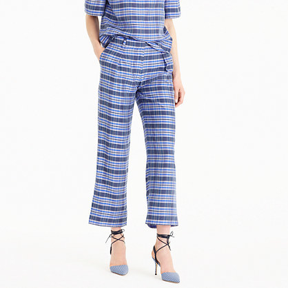 Collection Cropped Pant In Yarn Dyed Silk - pattern: checked/gingham; waist: mid/regular rise; secondary colour: royal blue; predominant colour: pale blue; occasions: casual, creative work; length: calf length; fibres: silk - 100%; fit: straight leg; pattern type: fabric; texture group: woven light midweight; style: standard; season: s/s 2016; wardrobe: highlight