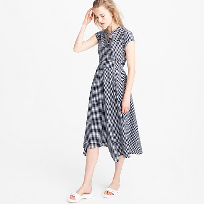 Gingham Short Sleeve Shirtdress - length: below the knee; sleeve style: capped; pattern: checked/gingham; secondary colour: white; predominant colour: navy; occasions: casual, creative work; fit: fitted at waist & bust; style: fit & flare; neckline: collarstand; fibres: cotton - 100%; sleeve length: short sleeve; pattern type: fabric; pattern size: standard; texture group: woven light midweight; season: s/s 2016; wardrobe: highlight